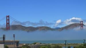 Fog shrouds the Golden Gate Bridge