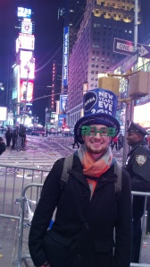 James celebrating New Years in Times Square