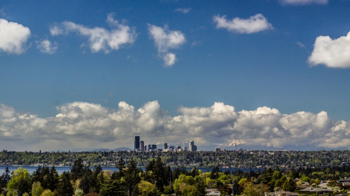 Clouds pass over Seattle.