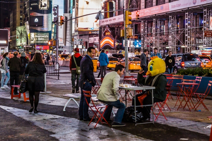 Chicken Chess in Times Square.