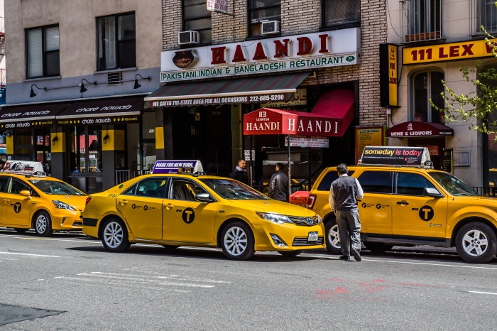 Taxi line up on Lexington Avenue during lunch time.