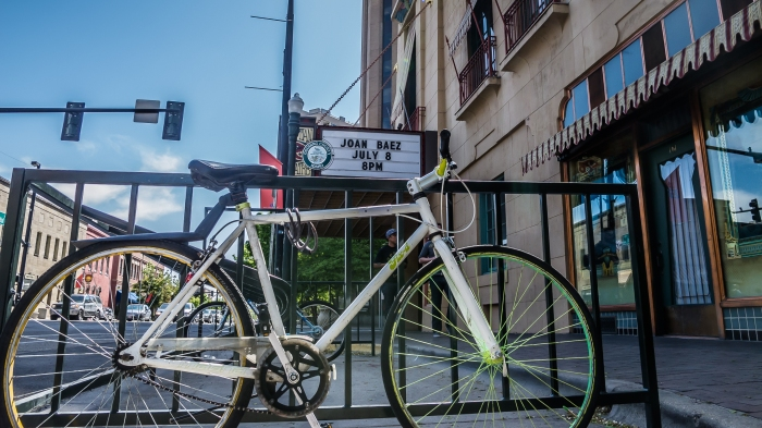 Bike parked outside the Egyptian Theater in Boise, Idaho, USA