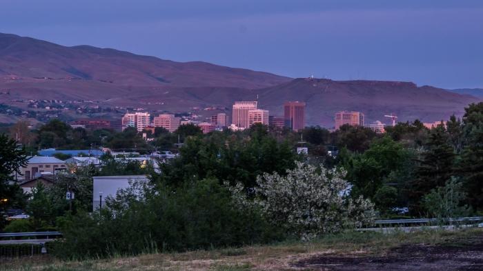 Sun sets on Boise, Idaho