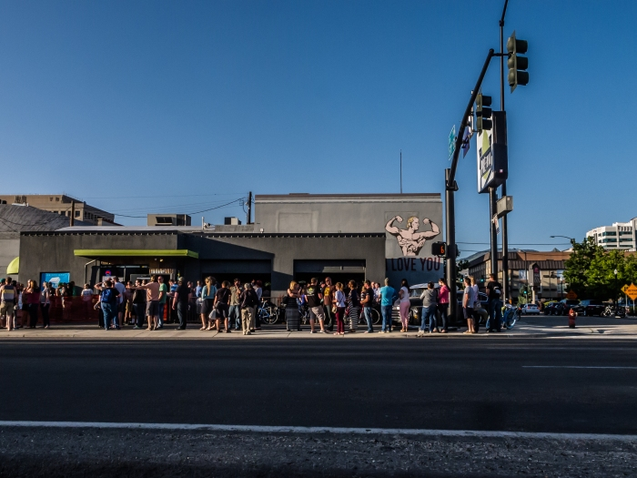 Crowd lines up to get into Pre funk Beer bar, in Boise, Idaho, USA