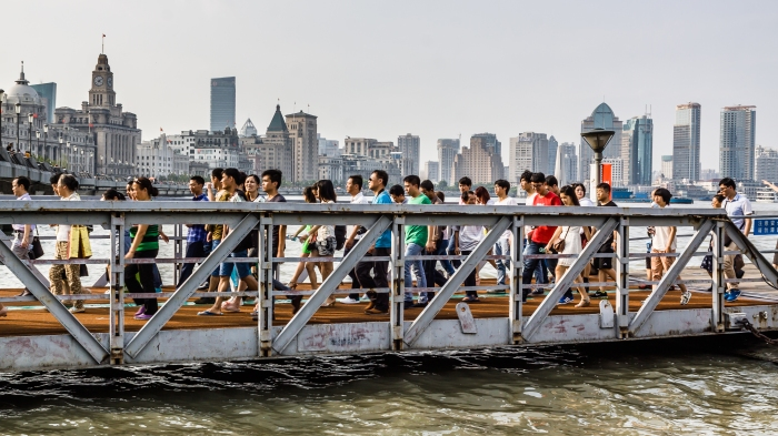 Passengers disembark the HuangPu River Ferry on the Puxi side.