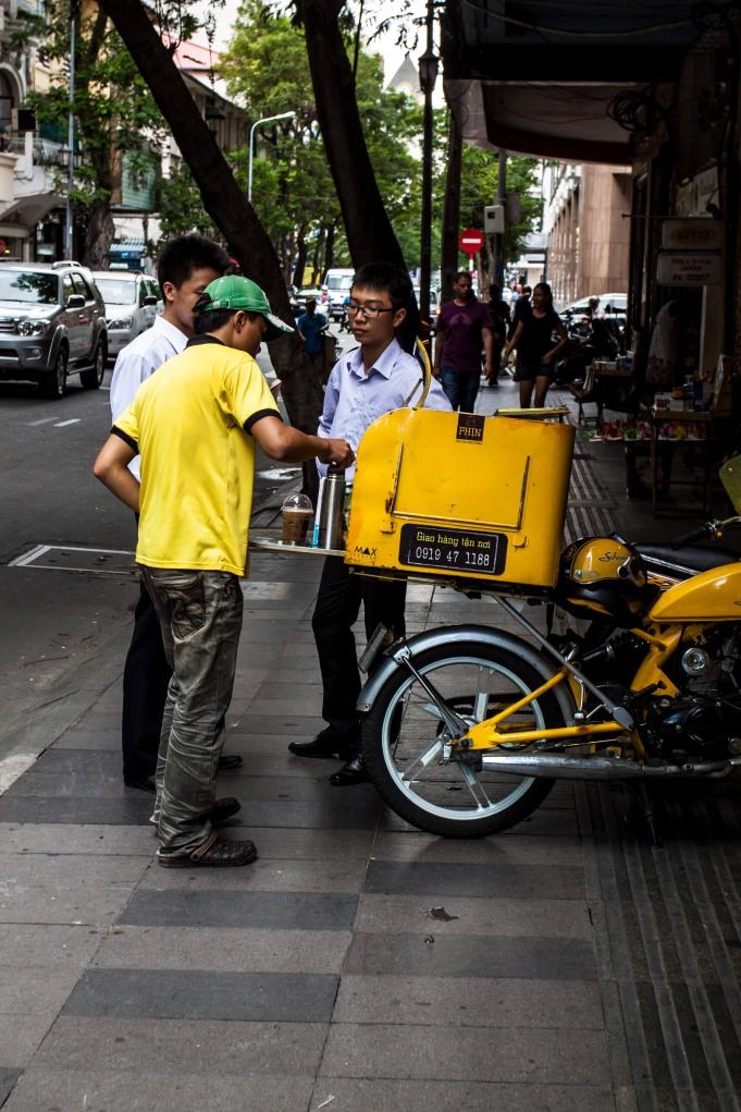 A portable coffee vendor in Ho Chi Minh City