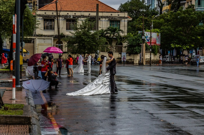 Wedding portraits across from Notre Dame Cathedral, Ho Chi Minh City