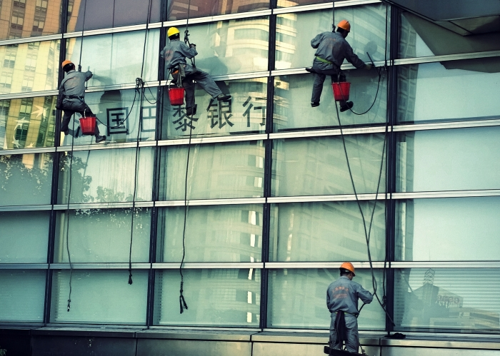 Window washers on the Shanghai World Financial Center.