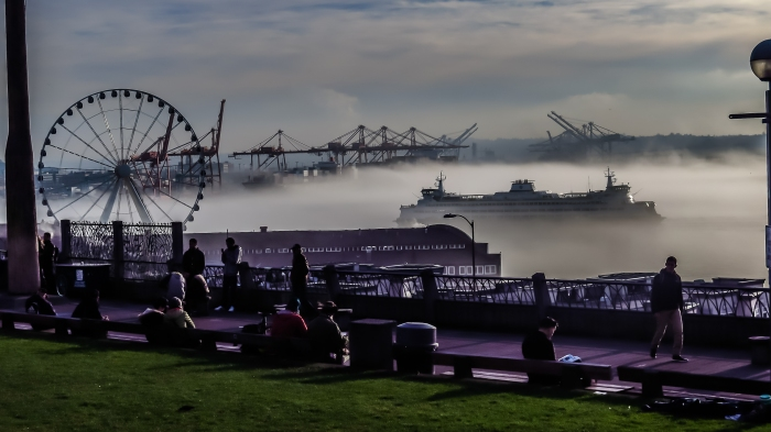 An inversion has trapped clouds along the Seattle waterfront for the past few days.