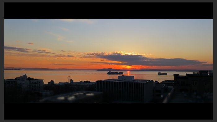 Sun sets over Elliott Bay