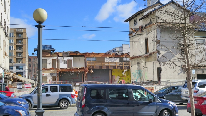 Old buildings being torn down in the International District, Seattle's Chinatown.